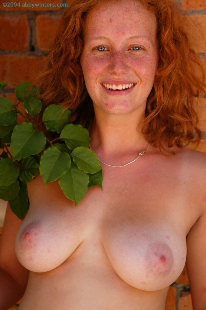 Freckled Redhead Hottie With Big Tits Rubbing Her Pussy