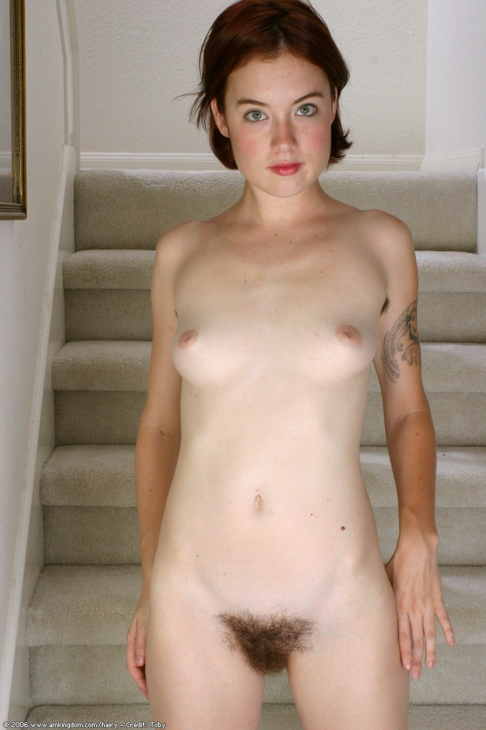 Scary hairy babe toys her real hairy pussy meaty lips pits